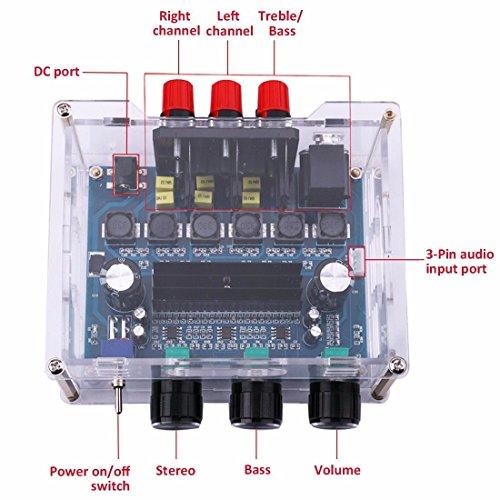 2.1-Kanal Audio Stereo Verstärker Subwoofer Board; DC 12-24V High Power 2 x 50 W 1 x 100W Sub Ausgang Super Bass Endstufe Amp-Modul