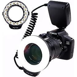 SAMTIAN RF-600D Anneau 18 LED Ultra Brillant et LégèreLED Flash Annulaire 【3 fois Luminosité que 48pcs LED Anneau Flash】 pour Nikon Canon Olympus Éclairage étincelant avec 8 adaptateurs et 4 anneaux