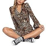 LoveLeiter Womens Sexy V-Ausschnitt Leopard Printed gekräuselten Hem Flare Sleeve Party Wrap Maxikleid(gelb,XL)