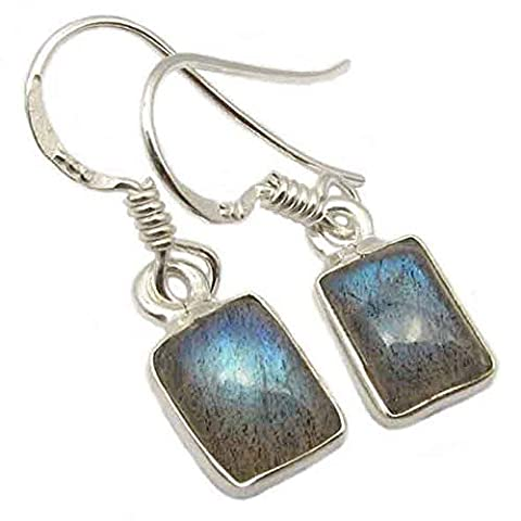Labradorite drop earrings in sterling silver - Stone size 5x8mm
