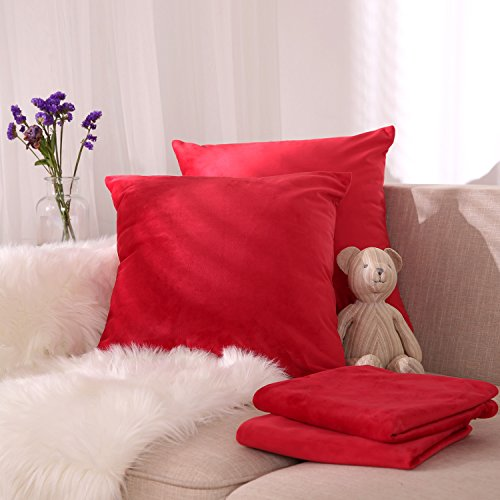 Deconovo Set of 4 Cushion Protectors Throw Pillow Cases Crushed Velvet Cushion Covers for Christmas 18x18 Inch Red