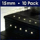 Pack of 10 - MiniSun 15mm Warm White LED Round Garden Decking / Kitchen Plinth Lights Kit - IP67