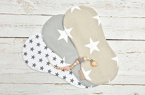 KraftKids Spucktuch graue Sterne auf Weiss und große weiße Sterne auf Beige und große weiße Sterne auf Grau 3er Set Sterne