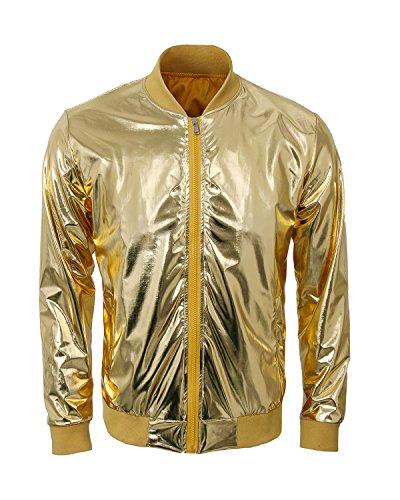 Cusfull Baseball Jacke Metallic Glänzend Nightclub Party Tanzen Casual Kostüm Mit Reißverschluss Up Fashion Bomber Jacke(XXL Gold) (Gold Kostüm Männer)