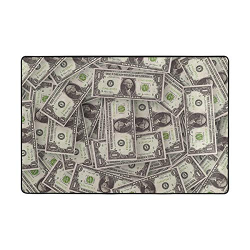 FAJRO Banknote American Dollars Muster Schlamm Schuhschaber Bereich Teppich Eingang Weg Fußmatte Multimuster Fußmatten Home Dec Anti-Rutsch Indoor/Outdoor, Polyester, 1, 72 x 48 inch - American Bereich 48 Zoll