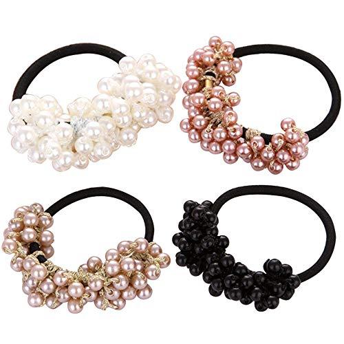 Haarnadel 4 Stücke Perlen Perle Gummiband Elegante Faux Perle Haar Seil Elastische Krawatte Pferdeschwanz Halter Haarschmuck Für Mädchen Frauen Damen Schön
