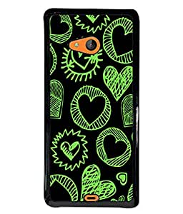 PrintVisa Designer Back Case Cover for Microsoft Lumia 540 Dual SIM (The Green And Black Hearts)