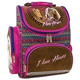 Pferd Horses Schulranzen Rucksack Kinder-Rucksack Ranzen rosa Mädchen leicht Hauptfach + Außentaschen + Netztasche