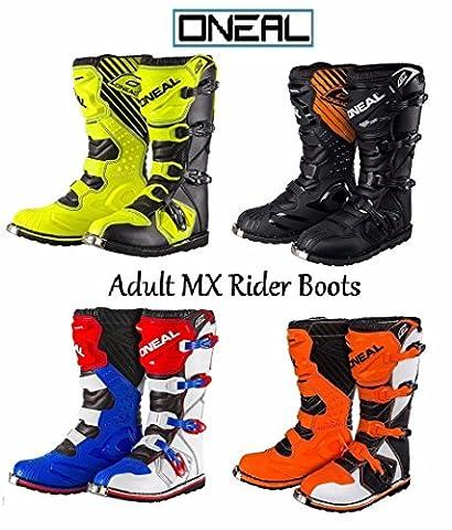 ONEAL ADULT RIDER BOOTS MOTORBIKE MX Motocross Sports Off Road Enduro Quad Dirt Bike ATV MTB BMX Adult Race Boots - Hi Viz Yellow - UK11 /