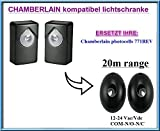 Chamberlain 771REV kompatibel lichtschranke, paare von äußere universale Fotozellen / Infrarot IR Sicherheit Sensor 12 -24 Vac/Vdc, NO/NC. Reichweite: bis 20m!!!