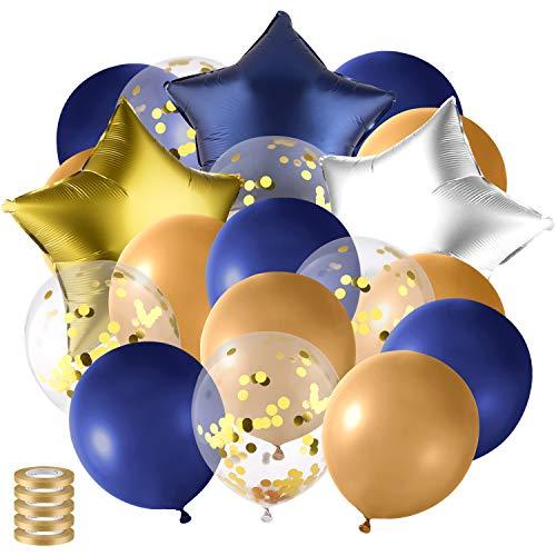 (TUPARKA 46 STÜCKE Marineblau Ballons Set Splitter Ballons Gold Chrome Latex Ballons Stern Folienballons für Navy Hochzeit Party / Boy Geburtstag / Nautical Navy Party)