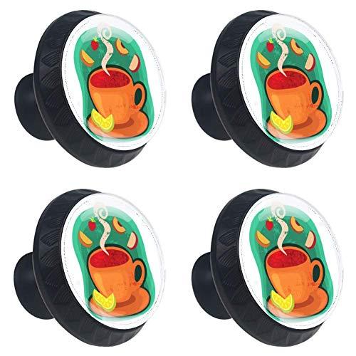 vintage möbelknöpfe inderzimmer zu installieren bunt knopf Kabinett knöpfe kinderschrankgriffe küche schubladenknöpfe Schublade Griff Kommode Schreibtisch(4 pice) Cartoon-Coffee-Cup 3.5×2.8CM (Oz In 4 Cups)