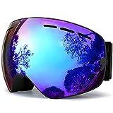 TUONROAD Skibrille Herren Blau Brillenträger Snowboardbrille Herren Skibrille Snowboard Doppel Objektiv Uv Snowboard Brille Brillenträger Snowboardbrille Verspiegelt Skibrille