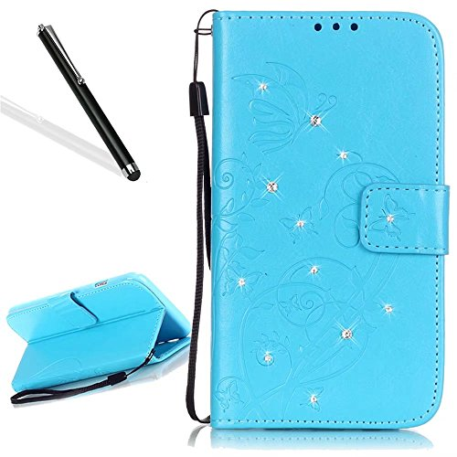 Custodia in Pelle per iPhone 7,Portafoglio Wallet Cover per iPhone 7,Leeook Retro Elegante Goffratura Rosa Farfalla Fiore Modello Cordoncino Snap-on Magnetico Carte Slot e Supporto Funzione Bookstyle  Diamante,Blu