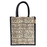 #6: H&B Jute Lunch bag (ancient stone,black, Size: 11x9x6 inches )