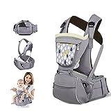 Sunveno Baumwollen Komfortabel Und Einstellbar Babybauchtragen Schutz Baby Carrier Babytrage Kindertrage (grau)