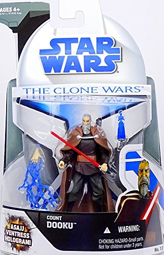 Hasbro CW06 Count Dooku Sith Lord  with Asajj Ventress Hologram CW13 Star Wars - The Clone (Count Dooku Wars Lichtschwert Star)