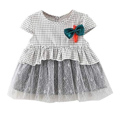 JUTOO Neugeborenes Kleinkind Kinder Baby Mädchen Geraffte Patchwork Tüllrock Karotten Prinzessin Kleider (Grau 1,70/S)