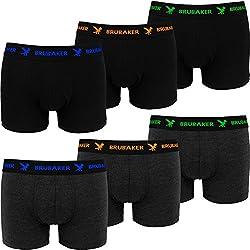 Brubaker Boxer rétro - Lot de 6 - Homme - Noir/Gris foncé avec Logos contrastés - Taille XXL