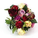 artplants Künstlicher Rosenstrauß Große-Molly, 15 Rosen, 9 Knospen, Creme-Altrosa-rot, 28 cm, Ø 25 cm - Blumenstrauß/Kunstrosen