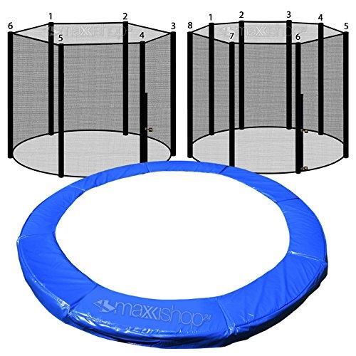 awm® Trampolin Randabdeckung Federabdeckung + Sicherheitsnetz Fangnetz (Blau, 305cm / 6 Stangen System)