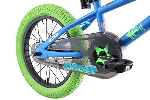 BIKESTAR Bicicletta Bambini 4-5 Anni da 16 Pollici ★ Bici per Bambino et Bambina BMX con Freno a retropedale et Freno a Mano ★ Blu & Verde - 9