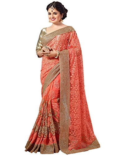 Jesti Designer Women\'s Net saree for women latest design 2018 Partywear with Blouse Piece(PanashPeach)