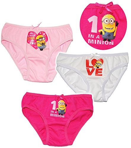 alles-meine.de GmbH alles-meine.de GmbH 3 TLG. Slip / Unterhosen - Minions - Ich einfach unverbesserlich - Größe 2 bis 3 Jahre - Gr. 98 bis 104 - 100 % Baumwolle - Mädchenslip / Unterwäsche - fü..