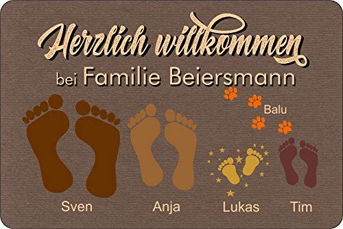 Fußmatte Füße | Pfoten Teppich mit Vor- & Familien Namen braun | Geschenk | Hund | Katze | Umzug | personalisiert | Fußabdruck Idee