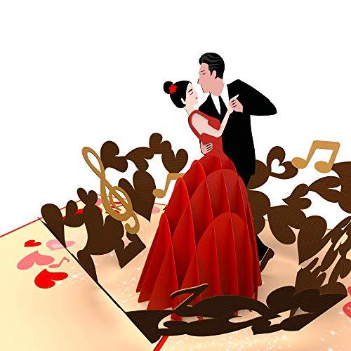 Hochzeitskarte Tänzerin und Tänzer, Tango, 3D-POP-Up-Karte Valentinstag, Glückwunschkarte zur Verlobung, Liebe, Valentinskarte, Geburtstagskarte, Geschenkkarte mit Umschlag
