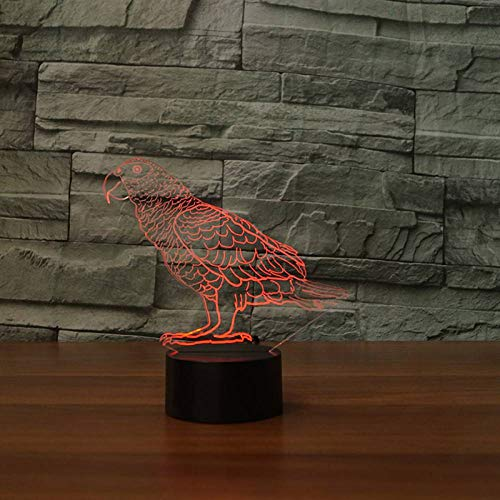 GBBCD Nachtlicht 7 Farbe Atmosphäre Led Tischlampe Wellensittich Vogel Nachtlicht Usb Touch Button Papagei Form Baby Schlaf Beleuchtung Kinder Geschenk -