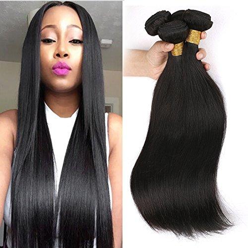 3 pacchi del tessuto brasiliano dei capelli lisci in offerta tessuto dei capelli 100 umani di colore naturale totale 300 g 10 12 14