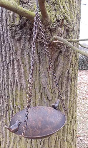 Deko-Impression Vogeltränke Vogelbad Vogelfutterstelle zum Hängen Eisen bronzefarben