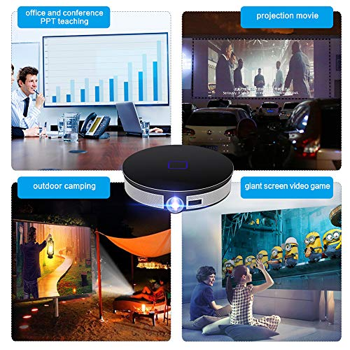 Portable Smart Home Android6 0 Video Projector With 1280X720p Resolution Support 1080P 4K 3D Built In 12000 Mah Battery 2G 32Gwhite