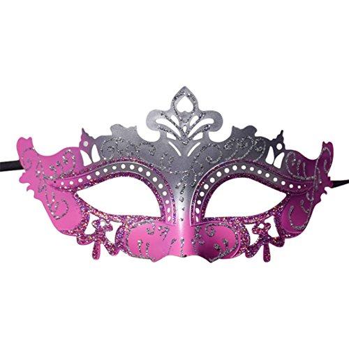 Kranchungel Glittered Mask Masquerade Half Face Mask Props Mardi Gras Party Patriotic Carnival Decoration Costume Pink