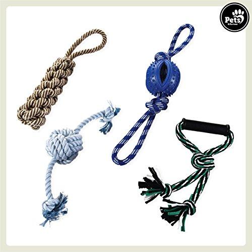 Pets&Partner® Juego de 4 juguetes de cuerda para perros resistente y fuerte . Muy resistente para perros grandes