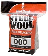Red Devil 0321 Steel Wool, 000 Extra Fine, 8 Pads