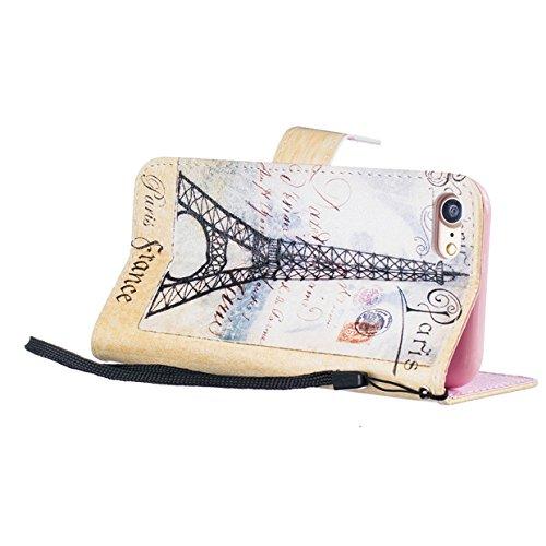 Coque iPhone 7, Etui iPhone 7, ISAKEN Bling Strass Cristal PU Cuir Flip Magnétique Portefeuille Etui Housse de Protection Coque Étui Case Cover avec Stand Support et Carte de Crédit Slot pour Apple iP Tiffel France