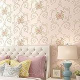 AIWQTO Wallpaper 3D Vlies Selbst klebende europäischen Pastorale Küche Schlafzimmer Wohnzimmer Wand-Sticker-Rosa 21*118inch