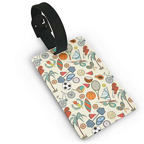 Soccers and Tennis Racket Luggage Tags, Bag Tag Travel ID Labels Tag for Baggage Suitcases Bags,