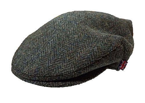 Herren Harris Tweed Wolle Fischgraetenstich Design Country Kappe Schiebermuetze...