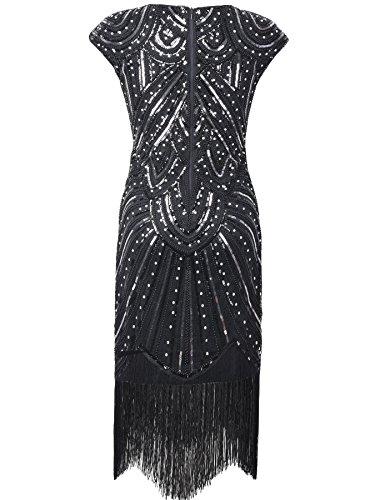 PrettyGuide Damen 1920er Gastby Diamant Pailletten Verschönert Mit Fransen Flapper Kleid Luxus Schwarz
