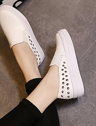 ZQ gyht Scarpe Donna - Mocassini - Casual - Plateau / Punta arrotondata - Basso - Finta pelle - Nero / Bianco , white-us8 / eu39 / uk6 / cn39 , white-us8 / eu39 / uk6 / cn39 white-us6.5-7 / eu37 / uk4.5-5 / cn37