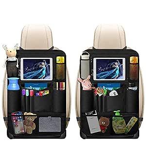 Auto Rückenlehnenschutz Omitium 2 Stück Auto Rücksitz Organizer Für Kinder Mit Große Taschen Und Ipad Tablet Fach Wasserdicht Autositzschoner Kick Matten Schutz Für Autositze Baby