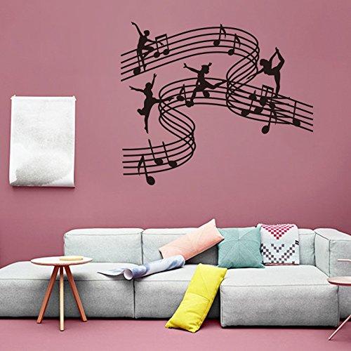kuamai Musik Tanz Mädchen Vinyl Wall Sticker Aufkleber Home Decor Schule Musik Unterricht DIY Kunst Wandbild Tapeten Daube