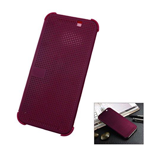 HTC One M9 Schutzhülle Tasche Smart Case Premium Hülle Tasche Dot Matrix View Book Lila Dots Case Cover