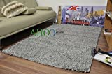 """Extra Large Grey Shaggy Rug 11 Colours Plain 5cm Thick Soft Pile Supplied with Non Slip Rug Grippers Modern 100% Berclon Twist Fibre Non-Shed Polypropylene Heat Set (Grey, 160x230 cm (5ft4"""" x 7ft 8""""))"""