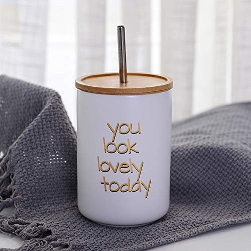 Erjialiu 480 Ml Keramik Stroh Becher Brief Kaffeetasse Holz Abdeckung Edelstahl Stroh Cola Kaltes Getränk Tassen Heiße Milch Teetasse,Weiss,480ml (Stroh-tasse Für Heiße Getränke)