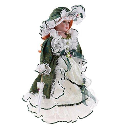 Muñeca Cerámica Delicada de Época Victoria, Regalo Niñas Mayores de 3 Años - Verde, 40cm