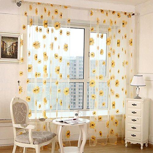 Sonnenblume schiere Vorhänge für Schlafzimmer Tulle Fenster Tür gestickte Qualität Baumwoll Leinen Sheer Vorhang für Fenster 100cmx270cm (40x108 Zoll) -1 Stück , w100cm*L270cm